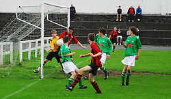 Westport Utd's Ciaran McFadden tries to get the ball past the Claremorris keeper on Monday evening...Pic Conor McKeown