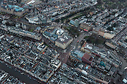 Nederland, Noord-Holland, Amsterdam, 16-01-2014;<br /> Close-up Amsterdam grachtengordel, centrum. Linksboven Hirschgebouw met Apple Center,  de Balie,  Max Euweplein en Paradiso.  Rechtsbeneden Stadsschouwburg en Americain Hotel.<br /> Close-up Amsterdam: ring of canals, center, Leidseplein (bottom) .<br /> luchtfoto (toeslag op standard tarieven);<br /> aerial photo (additional fee required);<br /> copyright foto/photo Siebe Swart