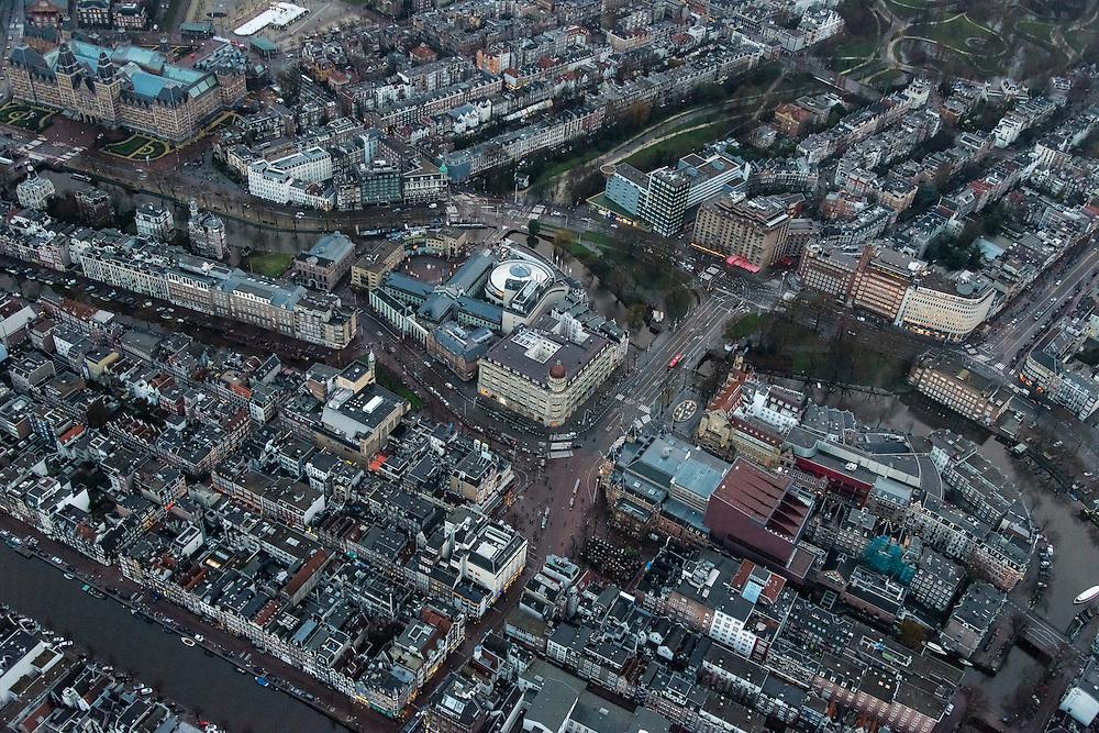 Nederland, Noord-Holland, Amsterdam, 16-01-2014;<br /> Close-up Amsterdam grachtengordel, centrum. Linksboven Hirschgebouw met Apple Center,  de Balie,  Max Euweplein en Paradiso.  Rechtsbeneden Stadsschouwburg en Americain Hotel.<br /> Close-up Amsterdam: ring of canals, center, Leidseplein (bottom) .<br /> luchtfoto (toeslag op standard tarieven);<br /> aerial photo (additional fee required);<br /> copyright foto/photo Siebe Swart