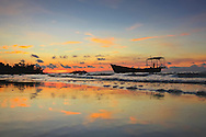 Boat moored on a beach of Koh Rong Island, Cambodia, Southeast Asia
