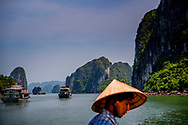 VIETNAM - HAlong BAy tourist, touristic, The Ha Long Bay is a bay near the city of Hạ Long in northern Vietnam in the Gulf of Tonkin, near the border with China. The bay has a 120 kilometer coastline and the area covers about 1500 square kilometers. ROBIN UTRECHT<br /> VIETNAM - HAlong BAy  tourist , touristc , De Ha Longbaai is een baai bij de stad Hạ Long in het noorden van Vietnam in de Golf van Tonkin, nabij de grens met China. De baai heeft een kustlijn van 120 kilometer en het gebied beslaat zo'n 1500 vierkante kilometer. ROBIN UTRECHT