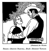 Westward the Women : Denise Darcel and Robert Taylor..