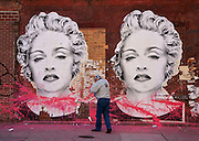 Marilyn Monroe graffiti on a wall in the Trendy Meat Packing district in New York.