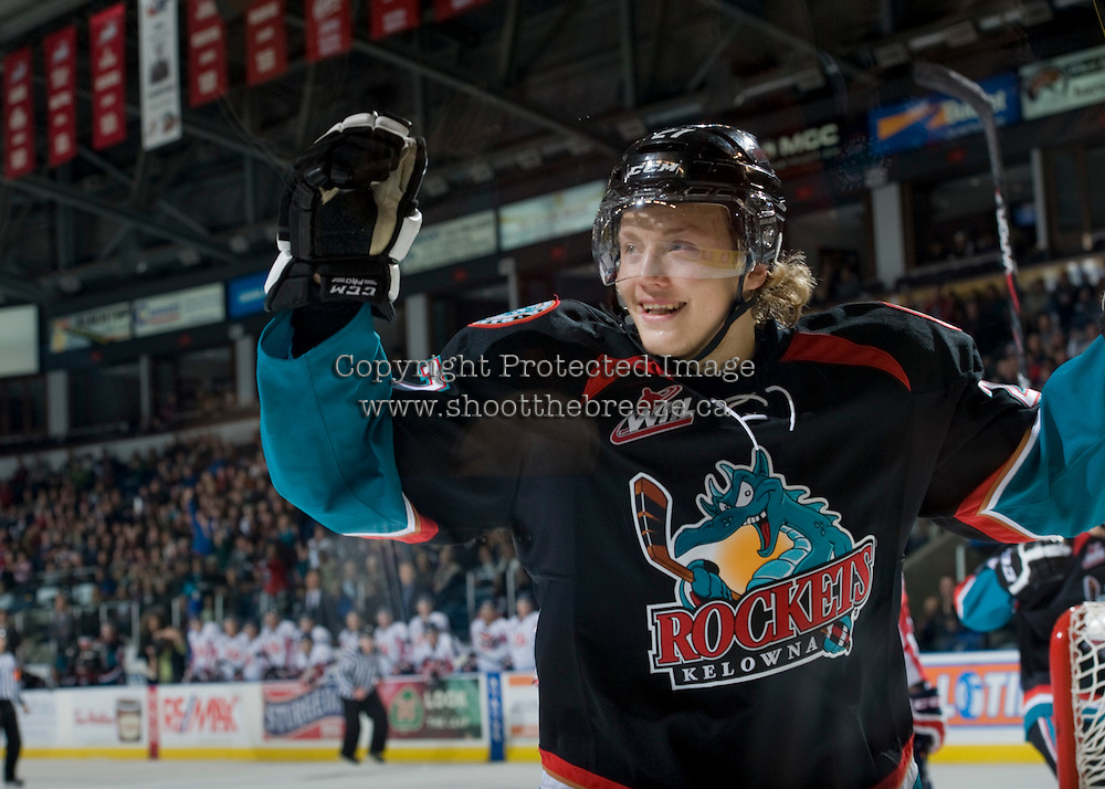 KELOWNA, CANADA, OCTOBER 16 -  Ryan Olsen #27 o the Kelowna Rockets celebrates a goal against the Lethbridge Hurricanes on Wednesday, October 16, 2013 at Prospera Place in Kelowna, British Columbia (photo by Marissa Baecker/Getty Images)***Local Caption***