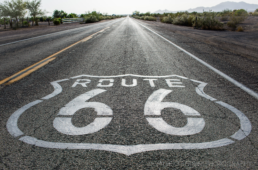Route 66 sign near Amboy in Eastern California close to the border with Arizona