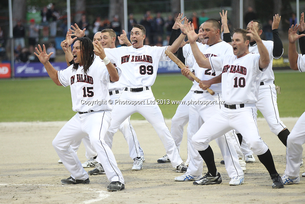 The Black Sox perform the haka at the World Mens Softball Championships game one New Zealand Black Sox v Mexico at Rosedale Park, Albany, Auckland. Photo: Fiona Goodall/photosport.co.nz