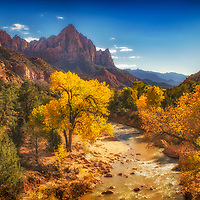Sunset over the Watchman and Virgin River, Zion National Park, Utah.