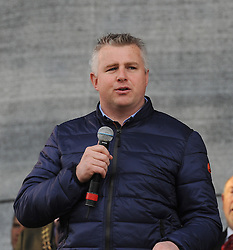 Mayo manager Stehen Rochford at the team&rsquo;s homcoming in McHale park on sunday evening.<br /> Pic Conor McKeown
