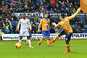 Mansfield Town forward Patrick Hoban (9) shoots and scores a goal 1-0 during the EFL Sky Bet League 2 match between Mansfield Town and Crawley Town at the One Call Stadium, Mansfield, England on 19 November 2016. Photo by Simon Trafford.
