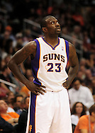 Nov. 5 2010; Phoenix, AZ, USA; Phoenix Suns guard Jason Richardson (23) reacts on the court against the Memphis Grizzlies at the US Airways Center. The Suns defeated the Memphis Grizzlies in double over time 123 - 118.  Mandatory Credit: Jennifer Stewart-US PRESSWIRE.