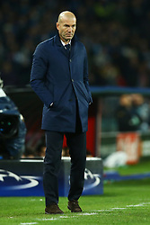 March 7, 2017 - Naples, Italy - Real Madrid's French coach Zinedine Zidane looks during the UEFA Champions League football match SSC Napoli vs Real Madrid on March 7, 2017 at the San Paolo stadium in Naples. (Photo by Matteo Ciambelli/NurPhoto) (Credit Image: © Matteo Ciambelli/NurPhoto via ZUMA Press)