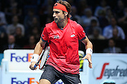 David Ferrer at the net during the ATP World Tour Finals at the O2 Arena, London, United Kingdom on 20 November 2015. Photo by Phil Duncan.