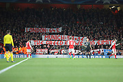 Bayern fans banner referring to money during the Champions League round of 16, game 2 match between Arsenal and Bayern Munich at the Emirates Stadium, London, England on 7 March 2017. Photo by Matthew Redman.