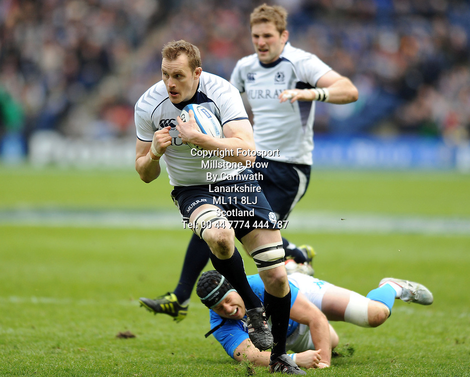 Scotland captain Ali Kellock on the charge.<br /> Scotland v Italy, Six Nations Championship, Murrayfield, Edinburgh, Scotland, Saturday 19th March 2010.<br /> Please credit ***FOTOSPORT/DAVID GIBSON***