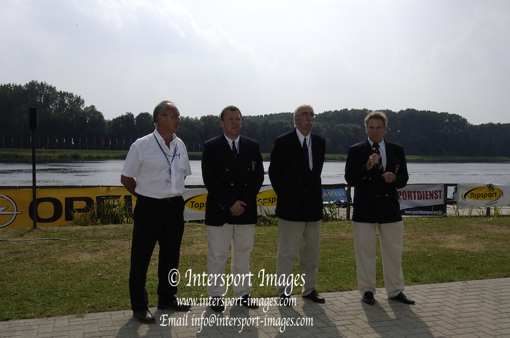 2006, U23 Rowing Championships,Hazewinkel, BELGIUM Sunday, 23.07.2006. U23, OC and Dennis Oswald, FISA President, IOC  Committee Member,  Photo  Peter Spurrier/Intersport Images email images@intersport-images.com..[Mandatory Credit Peter Spurrier/ Intersport Images] Rowing Course, Bloso, Hazewinkel. BELGUIM
