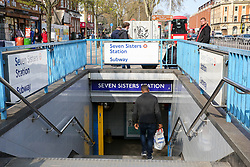© Licensed to London News Pictures. 31/03/2019. London, UK. General view of Seven Sisters underground tube station, Tottenham in north London where at 03:55 this morning a 23 year old man was discovered with multiple stab wounds. He remains in a life threatening condition. Detectives believe the victim was stabbed on Silver Street Edmonton in north London.  Photo credit: Dinendra Haria/LNP