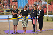21-08-2017 Sweden Princess Madeleine during the cavalcade at the opening of the Longines FEI European Championships Gothenburg 2017 in the Ullevi Stadium in Sweden. COPURIGHT ROBIN UTRECHT
