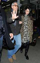 Actor George Clooney and his pregnant wife Amal Clooney arriving at the Eurostar in London, UK. 26/02/2017<br />BYLINE MUST READ : GOTCHAIMAGES.COM<br /><br />Copyright by © Gotcha Images Ltd. All rights reserved.<br />Usage of this image is conditional upon the acceptance <br />of Gotcha Images Ltd, terms and conditions available at<br />www.gotchaimages.com