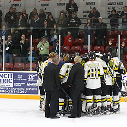 TRENTON, ON  - MAY 5,  2017: Canadian Junior Hockey League, Central Canadian Jr. &quot;A&quot; Championship. The Dudley Hewitt Cup Game 7 between Georgetown Raiders and the Powassan Voodoos.   Powassan Voodoos players and coaches gather as fans cheer for them post game.<br /> (Photo by Alex D'Addese / OJHL Images)