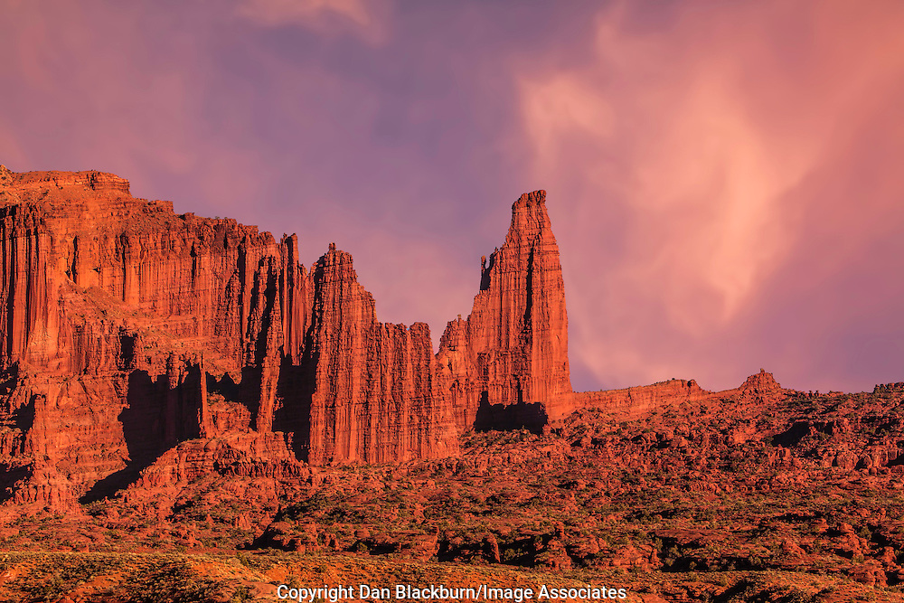 Sunset on Fisher Towers and Clouds Southeastern Utah
