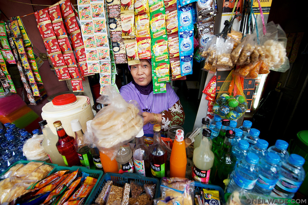 Small neighborhood stores often sell many different kinds of krupuk as a snack.