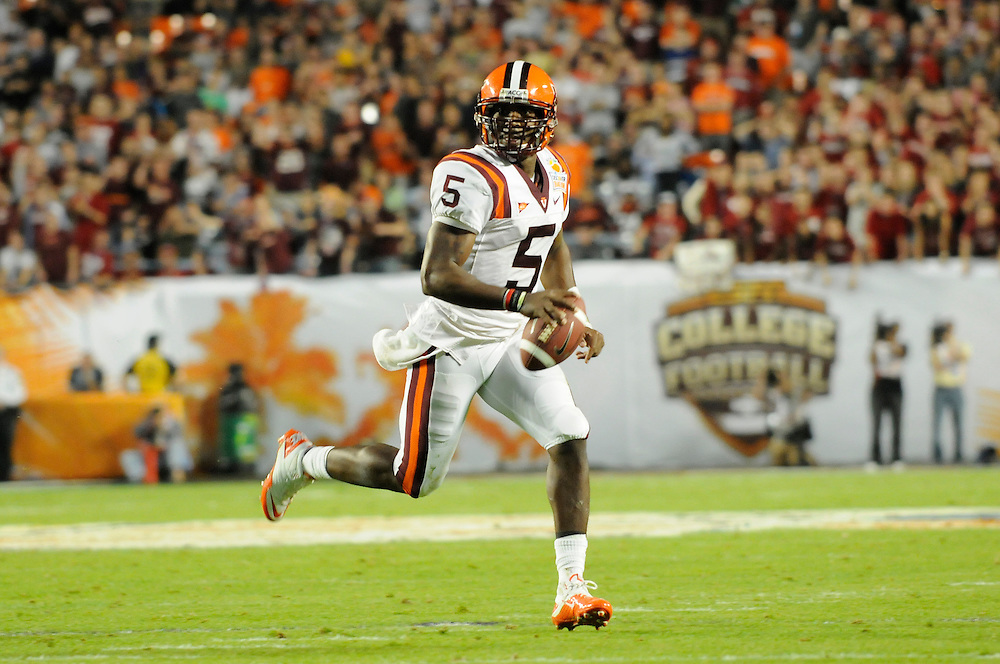 January 3, 2011: Tyrod Taylor of the Virginia Tech Hokies in action during the NCAA football game between the Stanford Cardinal and the Virginia Tech Hokies at the 2011 Orange Bowl in Miami Gardens, Florida. Stanford defeated Virginia Tech 40-12.