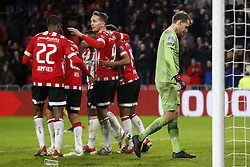 (L-R), Denzel Dumfries of PSV, Erick Gutierrez of PSV, Steven Bergwijn of PSV, Luuk de Jong of PSV, Donyell Malen of PSV, Alessandro Damen of Excelsior during the Dutch Eredivisie match between PSV Eindhoven and sbv Excelsior at the Phillips stadium on December 07, 2018 in Eindhoven, The Netherlands