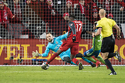 December 9, 2017 - Toronto, Ontario, Canada - Toronto FC forward JOZY ALTIDORE (17) scores the first goal of the match against Seattle Sounders goalkeeper STEFAN FREI (24) during the MLS Cup championship match at BMO Field in Toronto, Canada.  Toronto FC defeats Seattle Sounders 2 to 0. (Credit Image: © Mark Smith via ZUMA Wire)