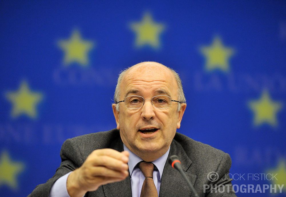 Joaquin Almunia, The EU's commissioner for economic and monetary affairs, speaks during the news conference following Eurogroup, the meeting of finance ministers from the 16 euro-zone countries of the European Union, at the EU Council headquarters on Tuesday, Dec. 1, 2009, in Brussels, Belgium. (Photo © Jock Fistick)