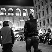 Roe, Termini Station, Abdul 16 years and Ibrahim Egyptians, walking in a street around Termini Station