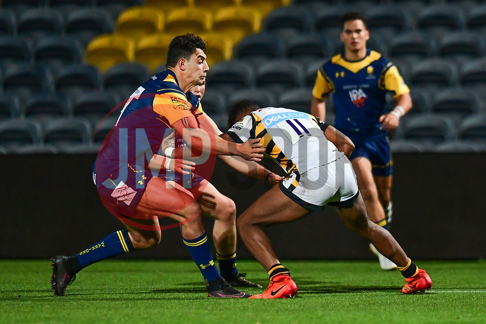 Taju Atta of Wasps is tackled by Bryce Heem of Worcester Cavaliers - Mandatory by-line: Craig Thomas/JMP - 23/10/2017 - RUGBY - Sixways Stadium - Worcester, England - Worcester Cavaliers v Wasps - Aviva A League