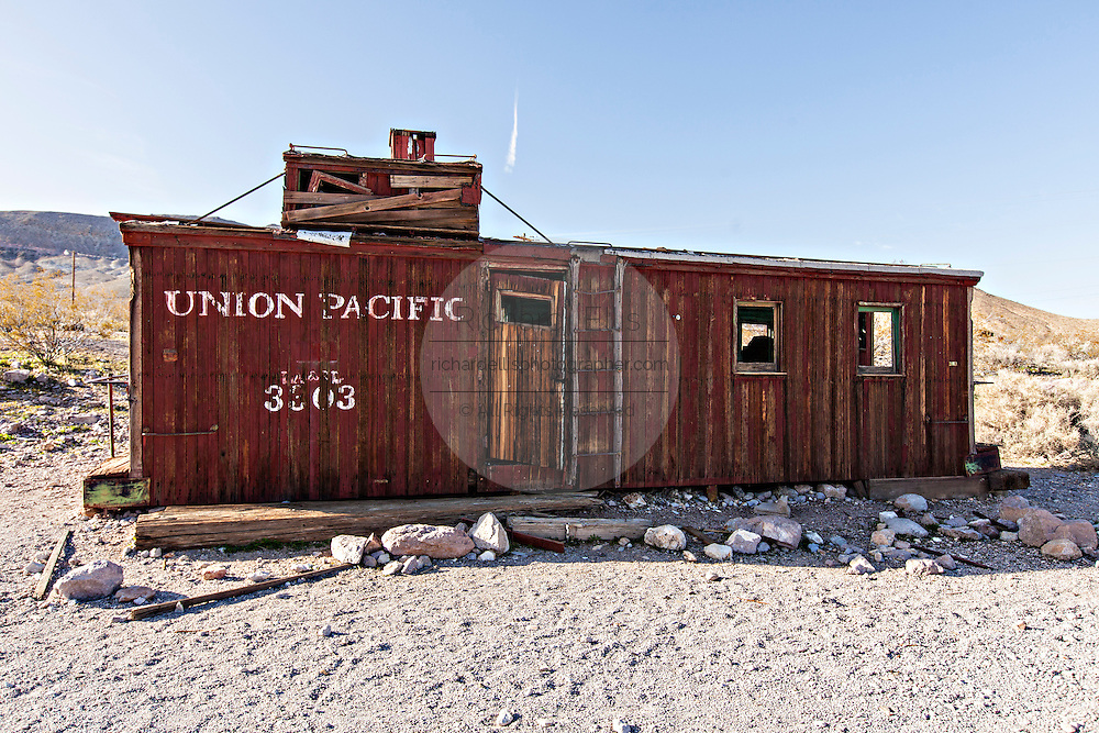 Old Union Pacific railroad caboose in Rhyolite, NV.