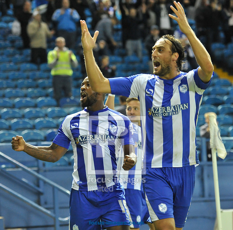 Atdhe Nuhiu (R) &amp; Jacques Maghoma of Sheffield Wednesday celebrate going 1-0 up during the Sky Bet Championship match at Hillsborough, Sheffield<br /> Picture by Richard Land/Focus Images Ltd +44 7713 507003<br /> 19/08/2014