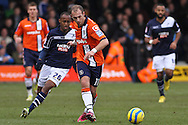 Picture by David Horn/Focus Images Ltd +44 7545 970036.16/02/2013.Jake Howells of Luton Town and Nadjim Abdou of Millwall during the The FA Cup match at Kenilworth Road, Luton.