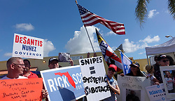 Protesters call for the resignation of Broward Supervisor of Elections Brenda Snipes on Sunday, November 11, 2018, at the Broward Supervisor of Elections office in Lauderhill, FL, USA., where the Florida recount began. Photo by Joe Cavaretta/Sun Sentinel/TNS/ABACAPRESS.COM