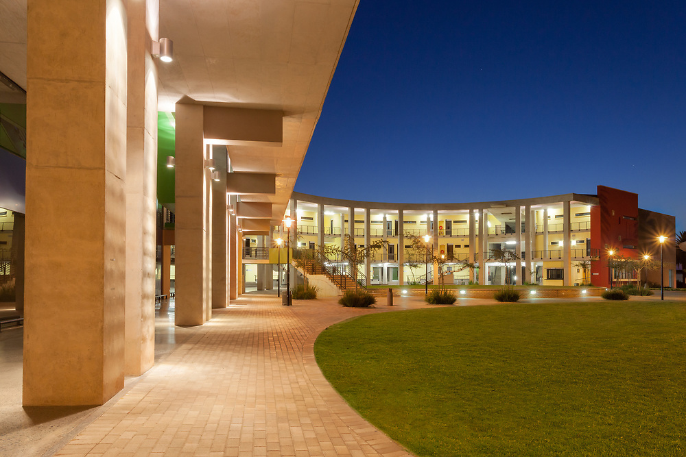 University of the Witwatersrand Science Stadium facade at twilight, Johannesburg, South Africa