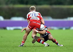 Iwan Hughes of Bristol United tackles Joe Mullis of Gloucester United - Mandatory by-line: Paul Knight/JMP - 18/11/2017 - RUGBY - Clifton RFC - Bristol, England - Bristol United v Gloucester United - Aviva A League