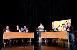 Franc Polovic, Marko Obrstar, Franc Krasovec, Dejan Obrez, Stane Ostrelic, Ales Praznik in Andrej Juratovec na okrogli mizi o krizi slovenskega rokometa danes, 26. oktober 2010, kongresna dvorana Mercurius, BTC City, Ljubljana, Slovenija. (Photo by Vid Ponikvar / Sportida)