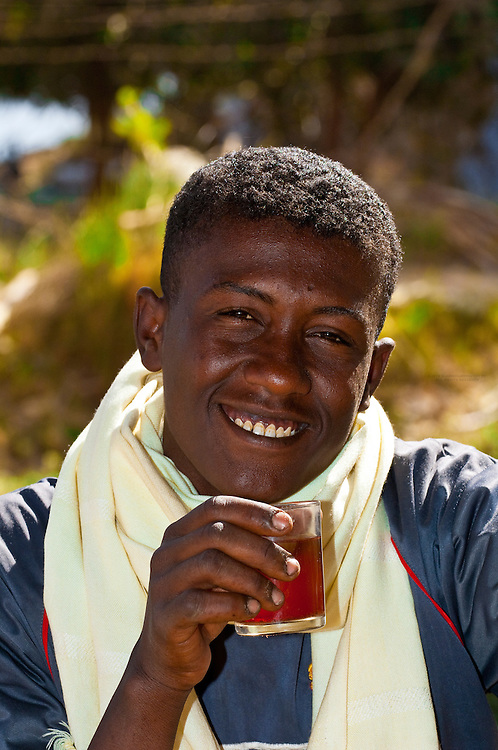 Men drinking tea, Nubian village near Aswan, Egypt