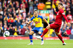 Cedric Soares of Southampton takes on Roberto Firmino of Liverpool - Mandatory by-line: Robbie Stephenson/JMP - 22/09/2018 - FOOTBALL - Anfield - Liverpool, England - Liverpool v Southampton - Premier League