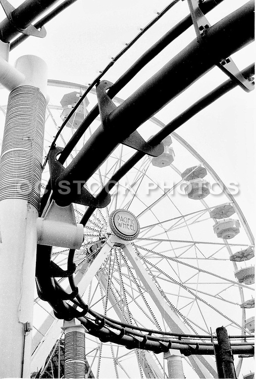 Roller Coaster and Ferris Wheel on the Santa Monica Pier Black and White