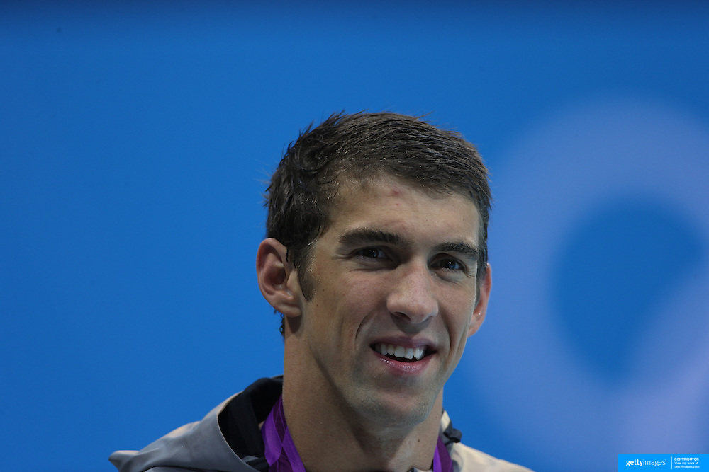 Michael Phelps, USA, after his team silver medal win in the Men's 4 x 100m freestyle at the Aquatic Centre at Olympic Park, Stratford during the London 2012 Olympic games. London, UK. 29th July 2012. Photo Tim Clayton