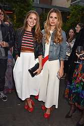 Left to right, sisters Lydia Chandris and Irene Forte at The Ivy Chelsea Garden's Annual Summer Garden Party, The Ivy Chelsea Garden, 197 King's Road, London England. 9 May 2017.<br /> Photo by Dominic O'Neill/SilverHub 0203 174 1069 sales@silverhubmedia.com