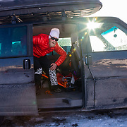 Andrew Whiteford pulls up in his VW van in the parking lot of Jackson Hole Mountain Resort, Teton Village, Wyoming.