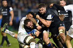 Tom Dunn of Bath Rugby takes on the Clermont Auvergne defence - Mandatory byline: Patrick Khachfe/JMP - 07966 386802 - 06/12/2019 - RUGBY UNION - The Recreation Ground - Bath, England - Bath Rugby v Clermont Auvergne - Heineken Champions Cup