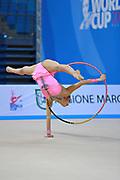 Gamalejeva Jelizaveta during qualifying at hoop in Pesaro World Cup 10 April 2015. Jelizaveta is a Latvian rhythmic gymnastics athlete born on March 22, 1994 in Riga.