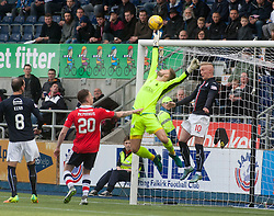 Falkirk's keeper Danny Rogers saves. Falkirk v Raith Rovers. Scottish Championship game played 22/10/2016 at The Falkirk Stadium.
