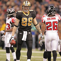2008 December, 07: New Orleans Saints tight end Jeremy Shockey (88) after a catch for a first down during a 29-25 victory by the New Orleans Saints over NFC South divisional rivals the Atlanta Falcons at the Louisiana Superdome in New Orleans, LA.