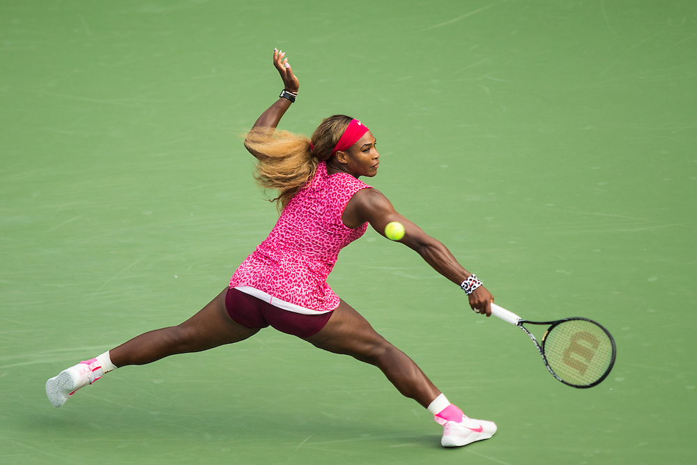 Serena Williams during her 6-1, 6-2 semifinal victory over Ekaterina Makarova in the semifinals of teh 2014 U.S. Open Tennis Championship at teh USTA Billie Jean King National Tennis Center in Queens, New York. ©2014 Darren Carroll