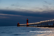 64795-03308 Grand Haven Lighthouse at sunset on Lake Michigan Grand Haven, MI